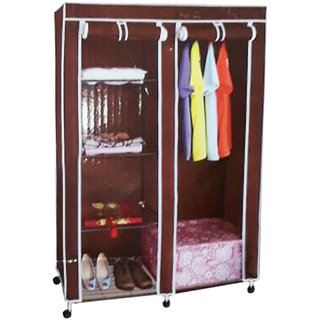 Double Door Collapsible Wardrobe with High Qualtiy Metal Frame K448-Brown