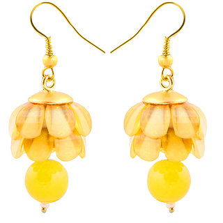 Deals e Unique Fashion Earring Jhumki Traditional Chiku Hanging With Glass Beads Yellow
