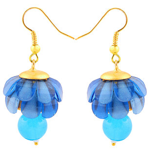 Deals e Unique Fashion Earring Jhumki Traditional Chiku Hanging With Glass Beads Sky Blue