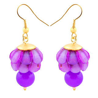 Deals e Unique Fashion  Earring Jhumki Traditional Chiku Hanging With Glass Beads Purple