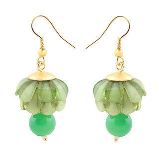 Deals e Unique Fashion Earring Jhumki Traditional Chiku Hanging With Glass Beads Parrot Green