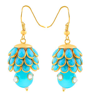 Deals e Unique Fashion Earring Jhumki Traditional Pacchi Hanging With Glass Beads Sky Blue