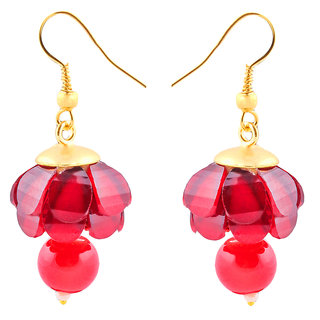 Deals e Unique Fashion Earring Jhumki Traditional Chiku Hanging With Glass Beads Red