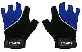 Strauss Comfort Velvet / Stretchback Cut Finger Gloves Large (Black/Blue)