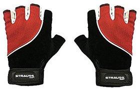 Strauss Comfort Velvet / Stretchback Cut Finger Gloves Medium (Black/Red)