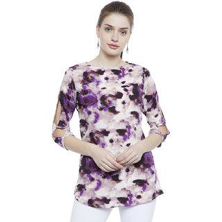 Fabulousme White Tie-Dye Round Neck Tunics  For Women