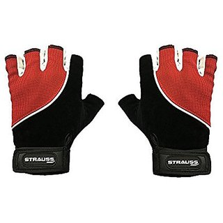 Strauss Comfort Velvet / Stretchback Cut Finger Gloves Large (Black/Red)