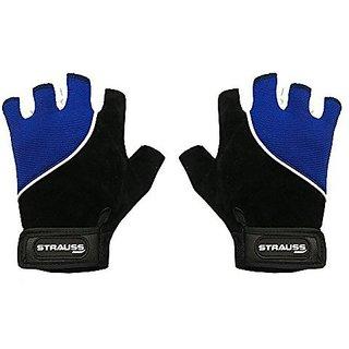 Strauss Comfort Velvet / Stretchback Cut Finger Gloves Medium (Black/Blue)