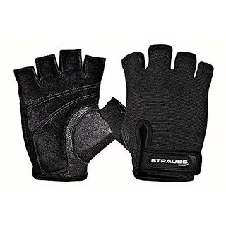 Strauss Weightlifting Gym Gloves With Stretchback Mesh And Leather Palm (Medium)