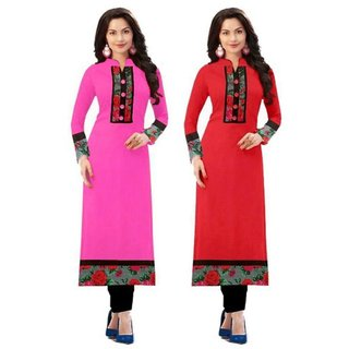 Designer Printed Indo cotton Pink and Red Combo Semi stitched Kurti By Omstar Fashion (baby+red)