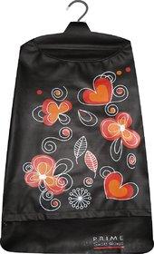 Laundry bag Hamper for clothes - Floral Heart Black