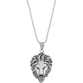 The Jewelbox Lion Dragon Silver 316L Surgical Stainless Steel Gift Pendant Chain Necklace Men Boys
