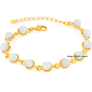 Mahi Gold Plated Ethereal White Monalisa Cats eye stone Bracelet for girls and women BR1100315GWhi