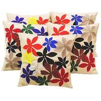 Zikrak Exim Felt Flower Patch Cushion Cover Beige 30/30 Cm (5 Pcs Set)