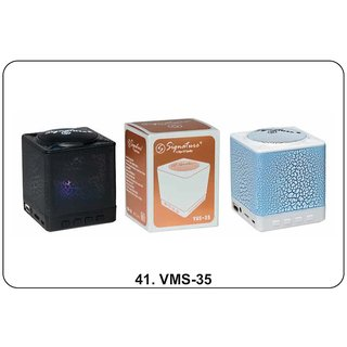Signature VMS-35 CUBE Wireless Bluetooth Speaker With Aux MMC and USB Port (Assorted Colors)