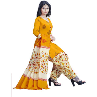 9263b795bcce Buy Drapes womens Yellow crepe Printed Dress Material (UnStitched ...