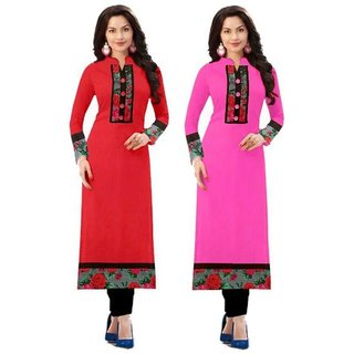 Rise On Fab Designer Red And Baby Pink Color indo cotton semi Stitched Printed Combo Kurti (RED+BABY)