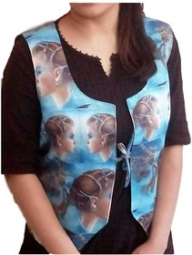 3D Printed Multicolor Polyester Waistcoat for Women