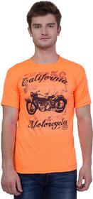 KRISTOF Orange Polyester Viscose T-Shirt