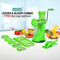 Ankur Combo of Vegetable and Plastic Fruit Juicer with 6 in 1 Slicer and Free Vegetable Cutter with Peeler Multicolor