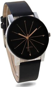 Ismart Designer Crystle Glass Round Shaped Black Dial Leather Belt Analogue Couple Watch- Latest Edition