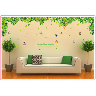 Extra Large Creative Green Leaves Butterfly Removable Art Wall Stickers - Multicolor