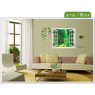 Fake Window Transparent Film PVC Removable Wall Stickers - Multicolor