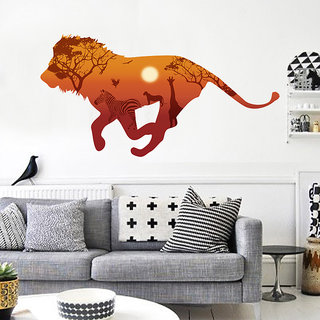 Africa Running Lion Giraffe Zebra Silhouette Animal 3D Wall Stickers for Kids Room - Multicolor