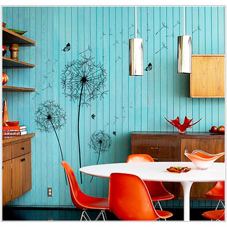Black Dandelion Romantic Pvc Transparent Wall Stickers - Multicolor