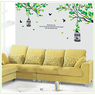 Birdcage Hanging From A Tree Wall Stickers - Multicolor