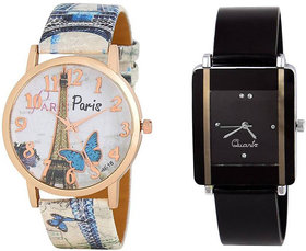 Varni Retail Trendy Blue Effile Tower With Black Kava Wrist Watch Girls Combo For Women