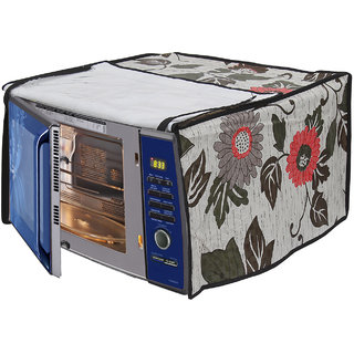 Glassiano Floral and Multi Printed Microwave Oven Cover for IFB 20 Litre Convection (20SC2, Metallic Silver)