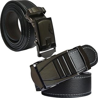 Sunshopping mens black leatherite auto lock buckle belt (pack of two) (Synthetic leather/Rexine)