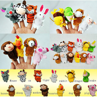 Finger Puppet With Tiger Animal 12 pcs Baby Education Play Toy Velvet Cotton