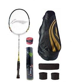 Li-Ning Combo of Q6 Badminton Racquet Kit Bag Grip  3 Other Items