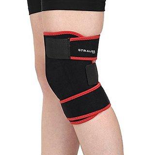 Strauss Adjustable Knee Support Free Size (Black)