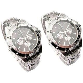 Rosra silver Black Dile  Combo Rosra Watch for Mens ,boys  Pack Of 2