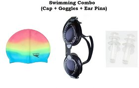 Swimming Combo (Cap + Eye cover + Ear Pin) - Assorted