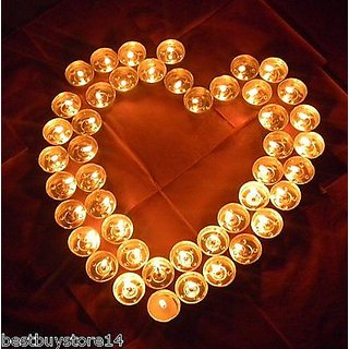 5+ Hours Lighting Pack Of 50 Tealight Candles For Diwali Gift