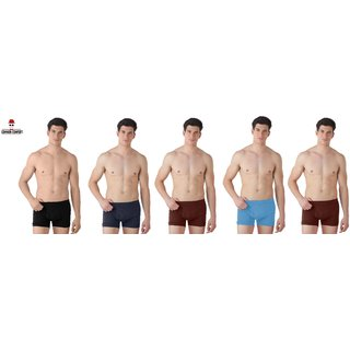 (PACK OF 5) COMMON-COMFORT Men's Cotton Trunk/Underwear - Multi-Color