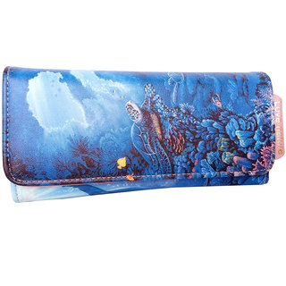 Exotic Collections Blue Color Printed PU Leather Stylish Long Wallet Cum Card Holders For Women's and Girls