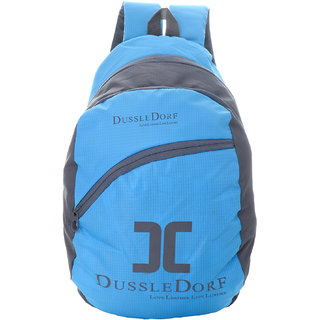 Dussledorf Polyester 14Liters Cyan  Grey Laptop Backpack With Adjustable Strap (DUSS-III-20)