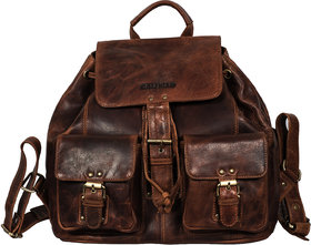 Calfnero Men's  Genuine Leather Backpack, Rucksack, Tracking Bag