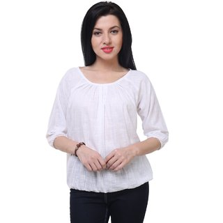 F.U.C. OK Casual 3/4th Sleeve Solid Women's White Top