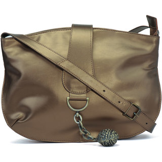 c375ee06e4 Buy Anekaant Flourish Metallic Gold PU Sling Bag Online - Get 28% Off