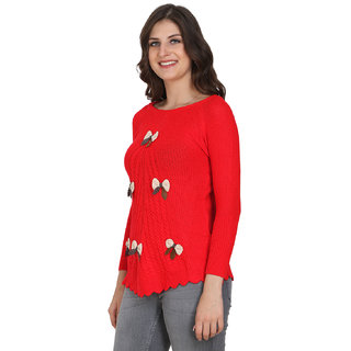 BuyNewTrend Red Full Sleeve Woolen Sweater with Embroidered Butterfly For  Women 398d6fa6c