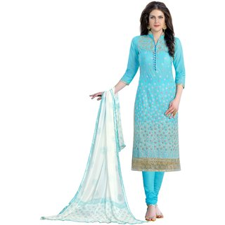 DnVeens Women Pure Cotton Embroidered Unstitched Salwar Kameez Suit Set Dress Materials BLMDQN1357
