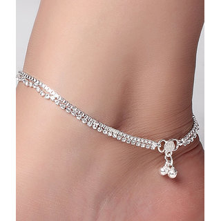full stone box chain silver plated payal anklet