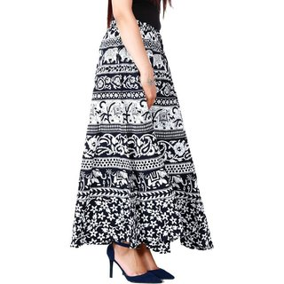 6c0745d29 Buy BuyNewTrend Cotton Black N White Full Length Animal Printed Wrap Around  Skirt For Women Online - Get 75% Off