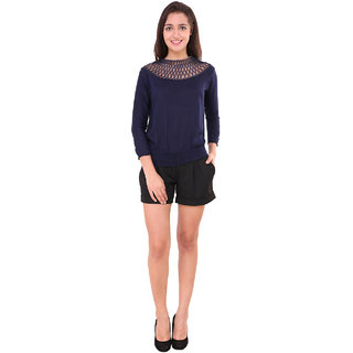 a603d735d41cc Buy BuyNewTrend Red   Navy Crepe Lace Top For Women (Pack of 2 ...